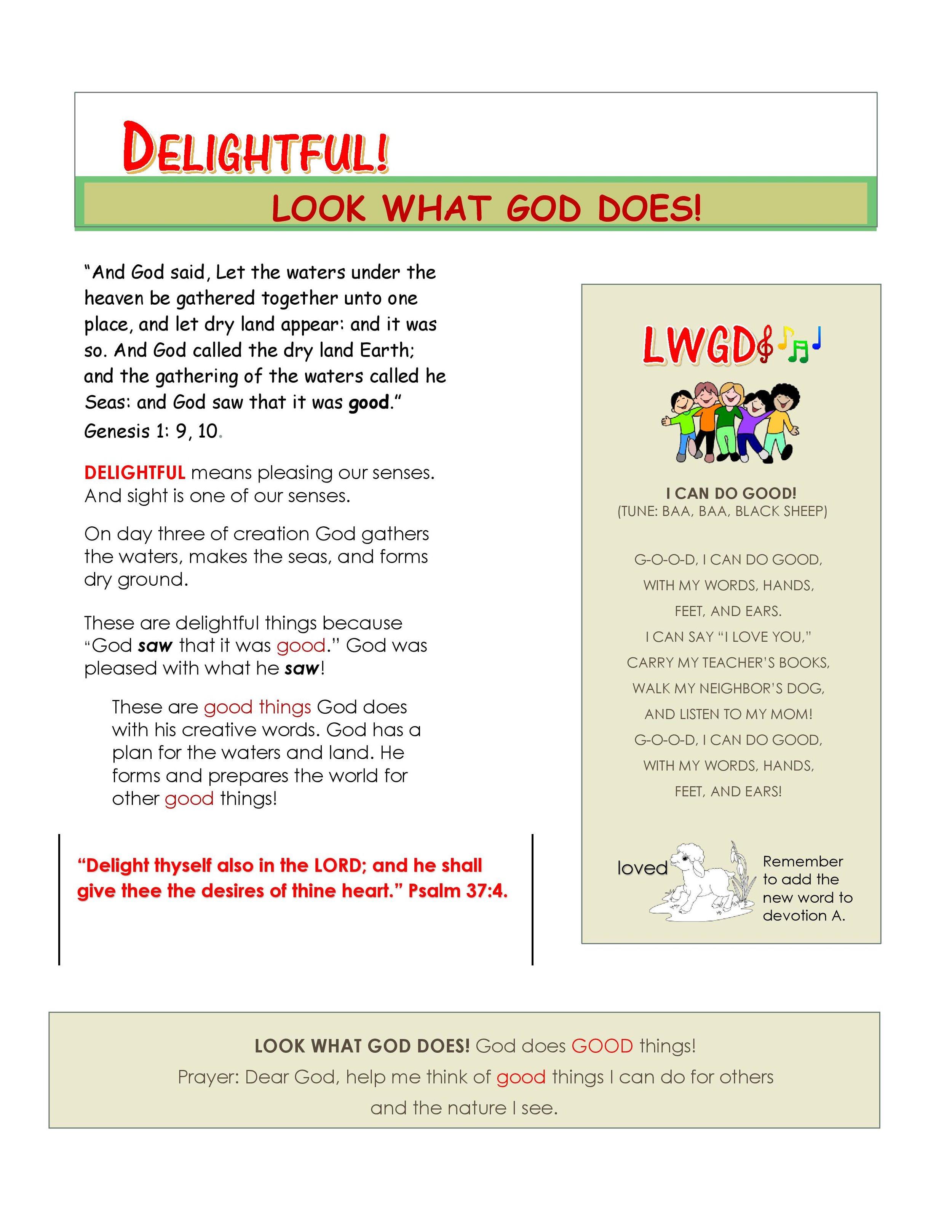 D Delightful Children's Devotion