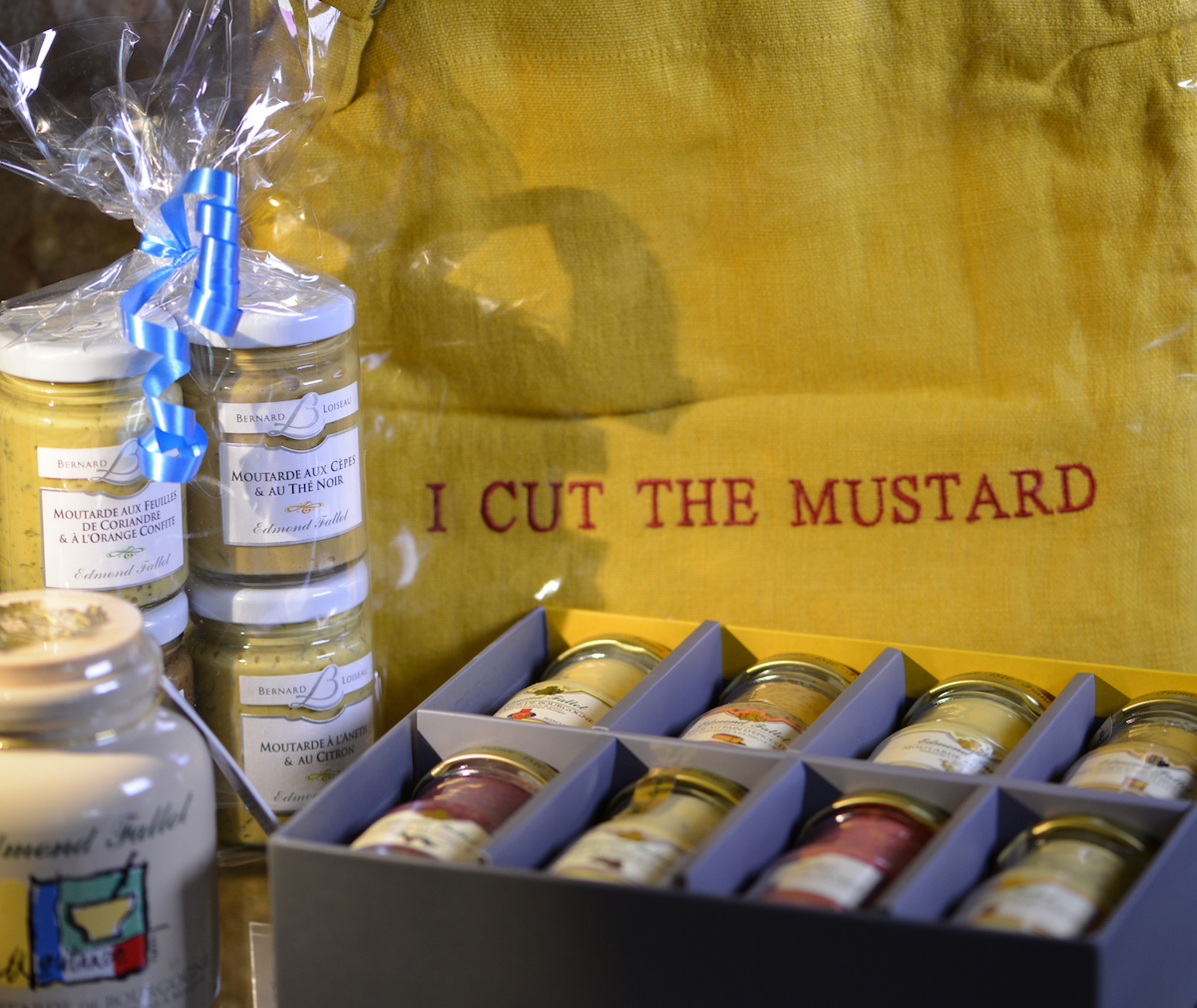 Mustards from Fallot and Purple Mustard Club Apron