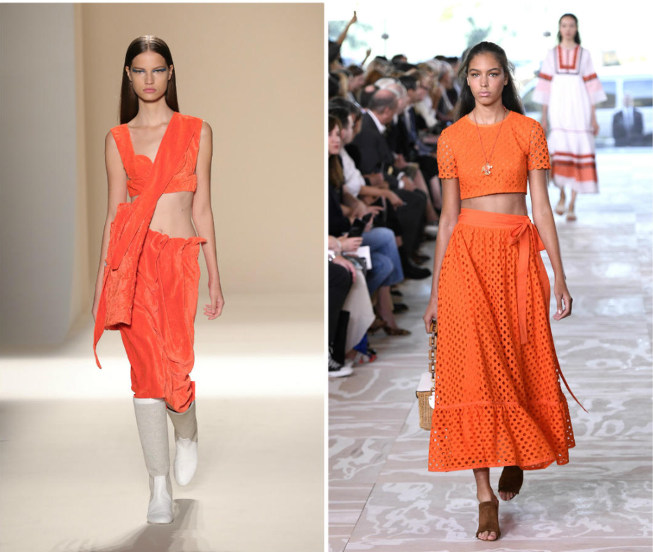 From Left to Right, looks by Victoria Beckham and Tory Burch hit the runway at NYFW 2017.