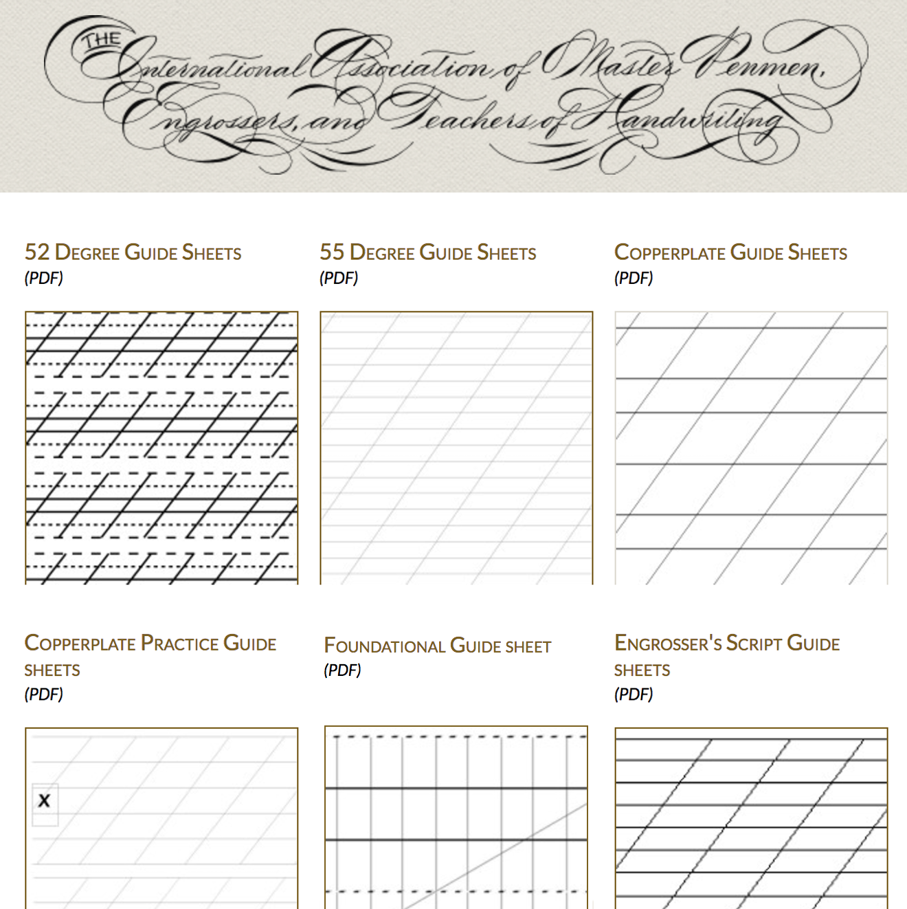 Free Calligraphy Guide Sheets    IAMPETH.com  - 'THE International association of master penmen, engravers and teachers of writing' has some extremely useful guide sheets to help with practicing copperplate. Available to download as PDF files via their website.