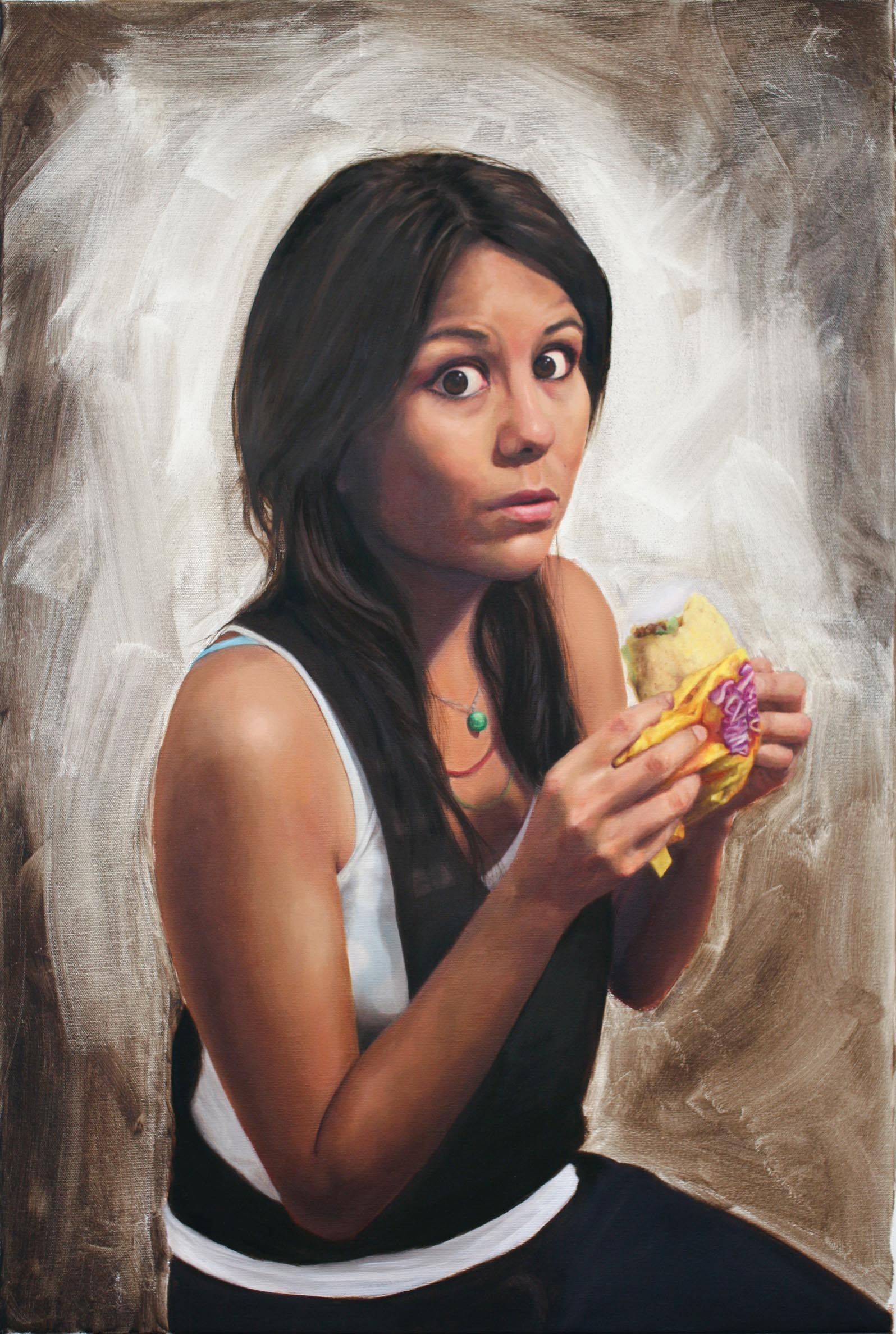 """self with taco  oil on canvas 36"""" x 24"""" 2010"""