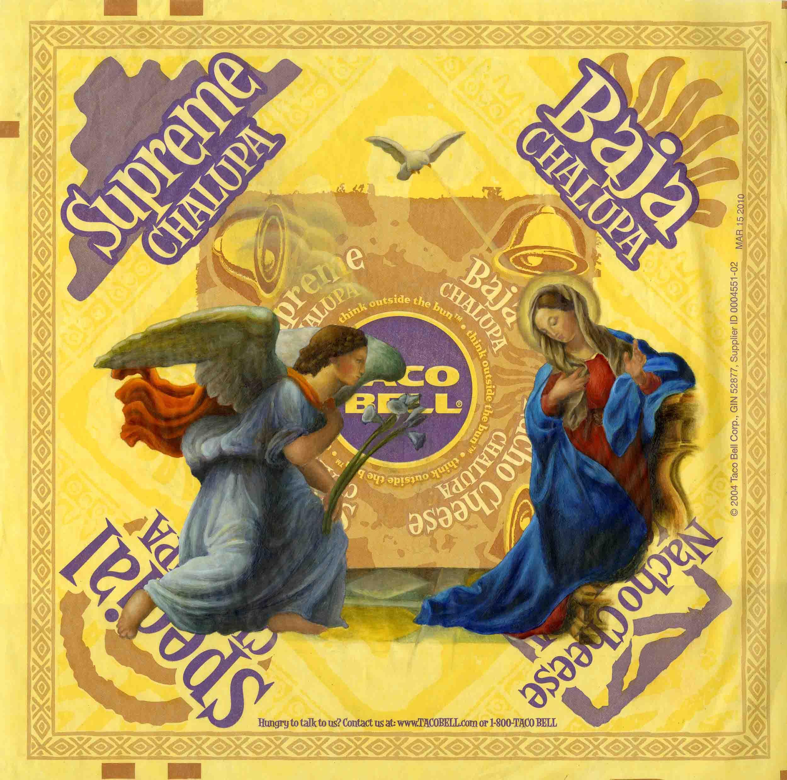 "Annunciation  oil on fast food wrapper 12"" x 12"" 2010"