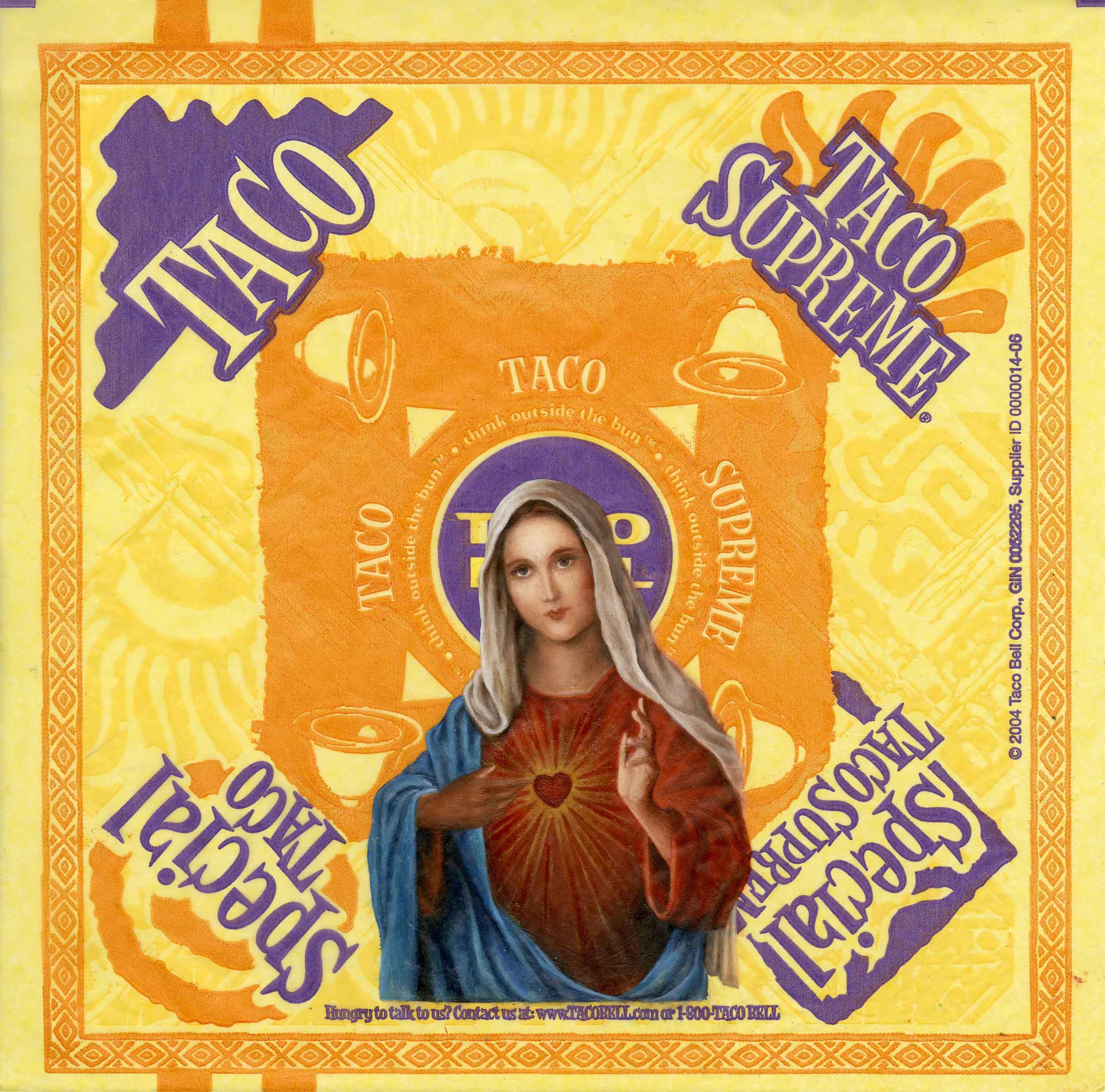 "Virgin Supreme  oil on fast food wrapper 10 5/8"" x 10 1/2"" 2010"