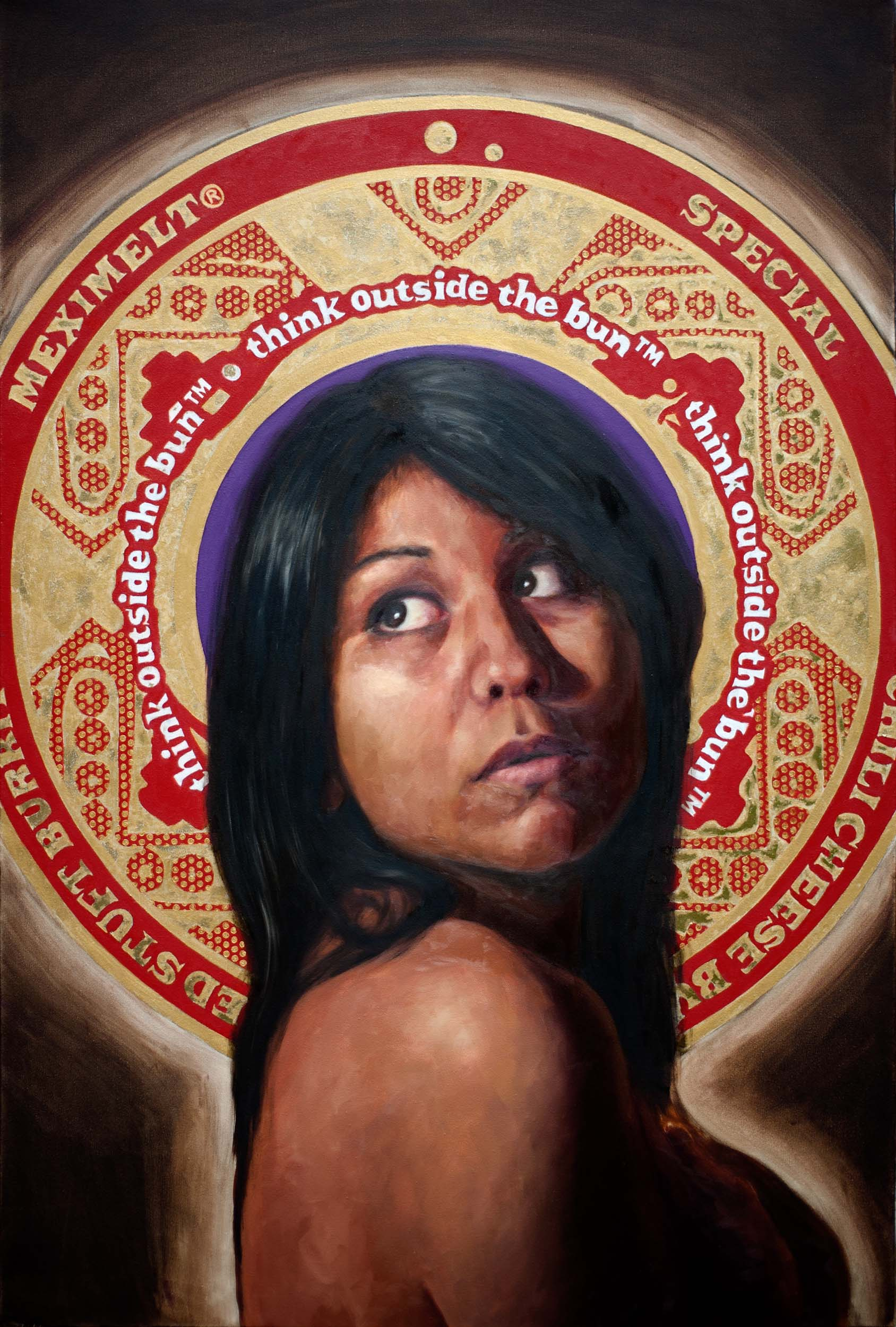 """Self-portrait as Virgin  oil and gold leaf on canvas 44 3/4"""" x 29 3/4"""" 2010"""