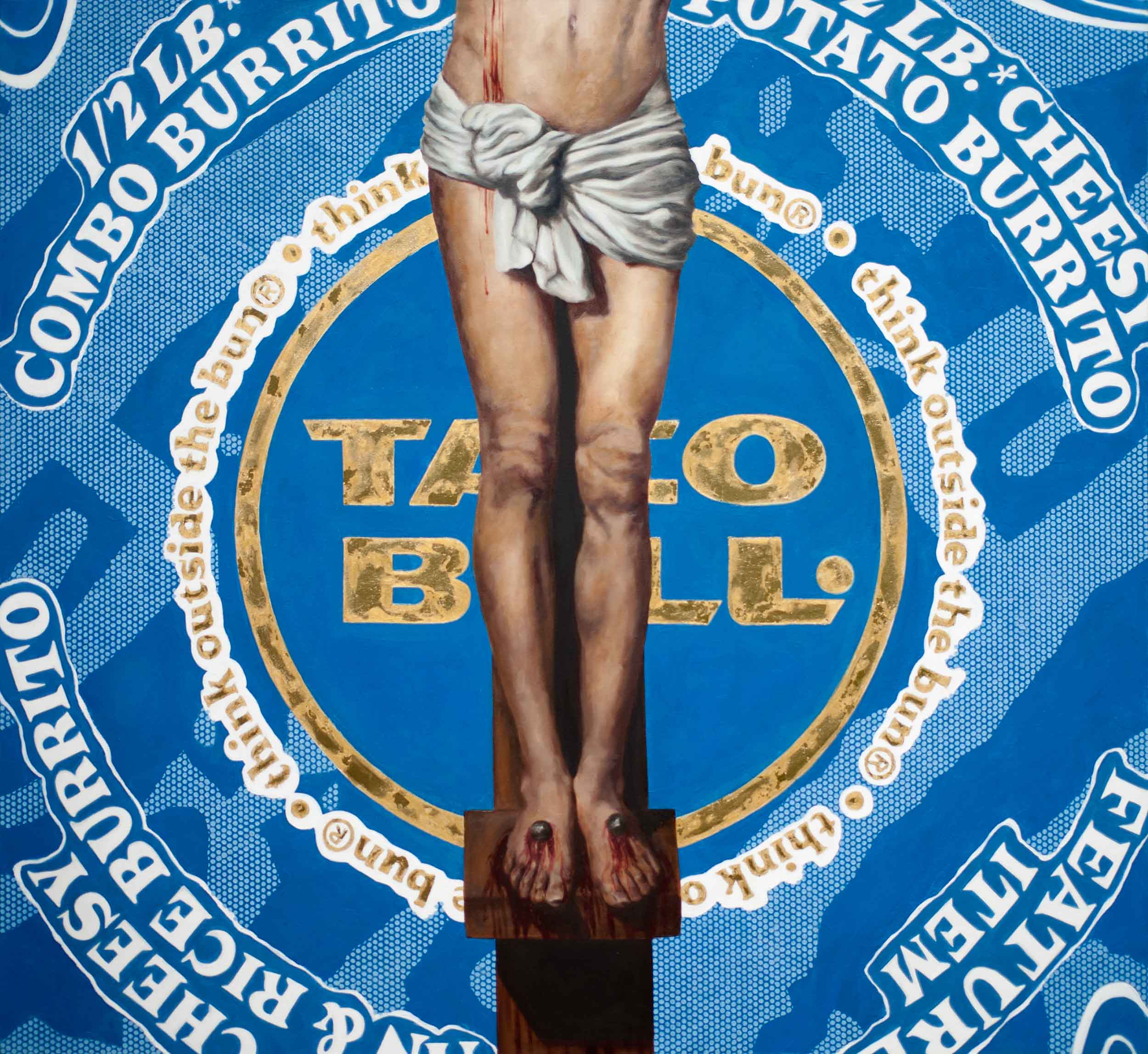 """Christ and the 1/2 lb burrito  oil and gold leaf on canvas 52"""" x 56 1/4"""" 2010"""