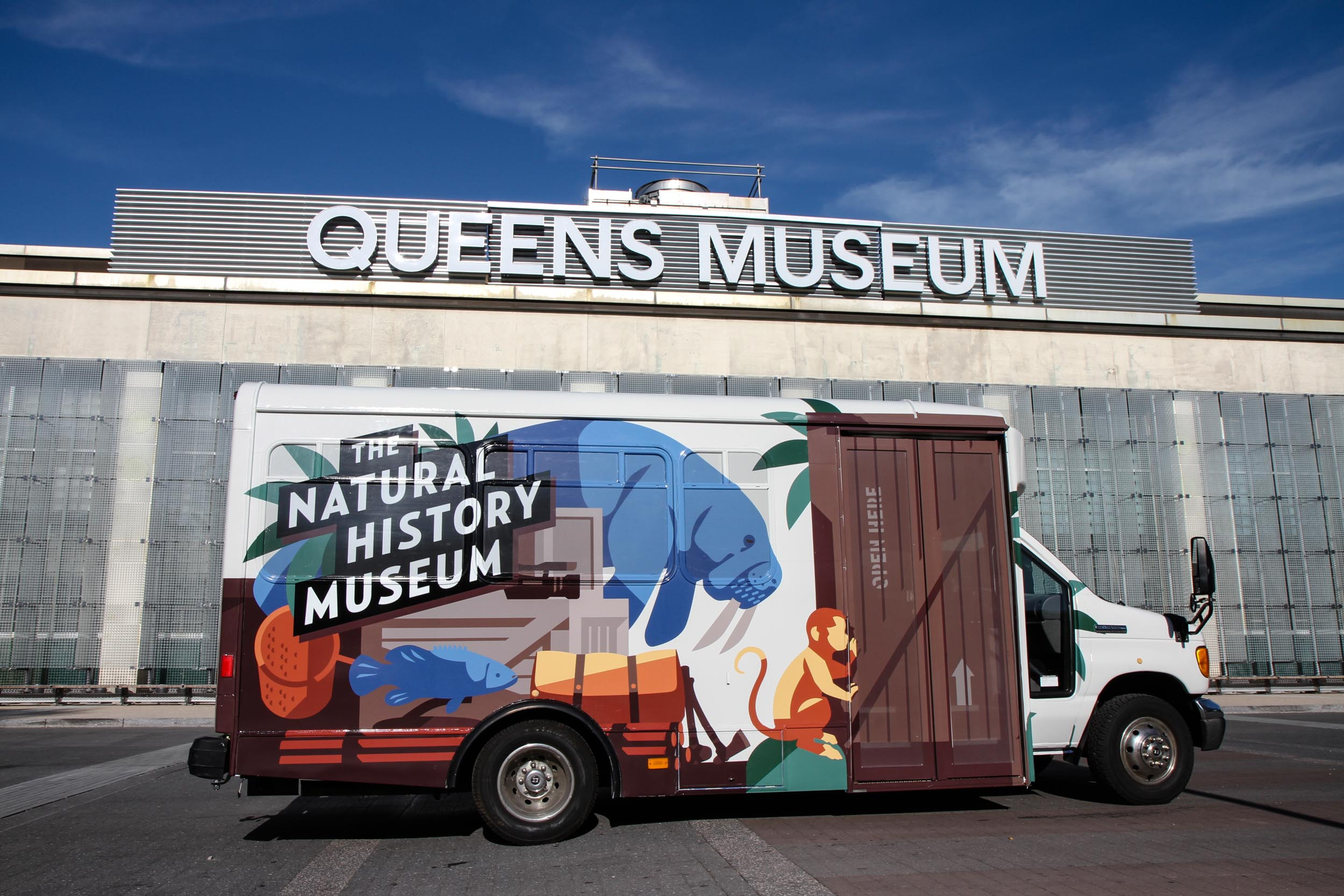 The Natural History Museum bus outside the Queens Museums for its inaugural exhibition in 2014.