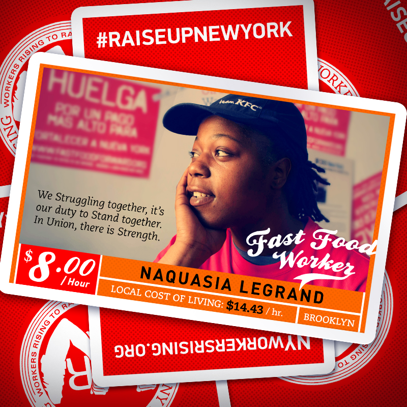 As part of this raising the minimum wage campaign, social media images portraying fast food workers alongside their own words and actual NYC living wages acted as storytelling snapshots to help gather momentum towards action.