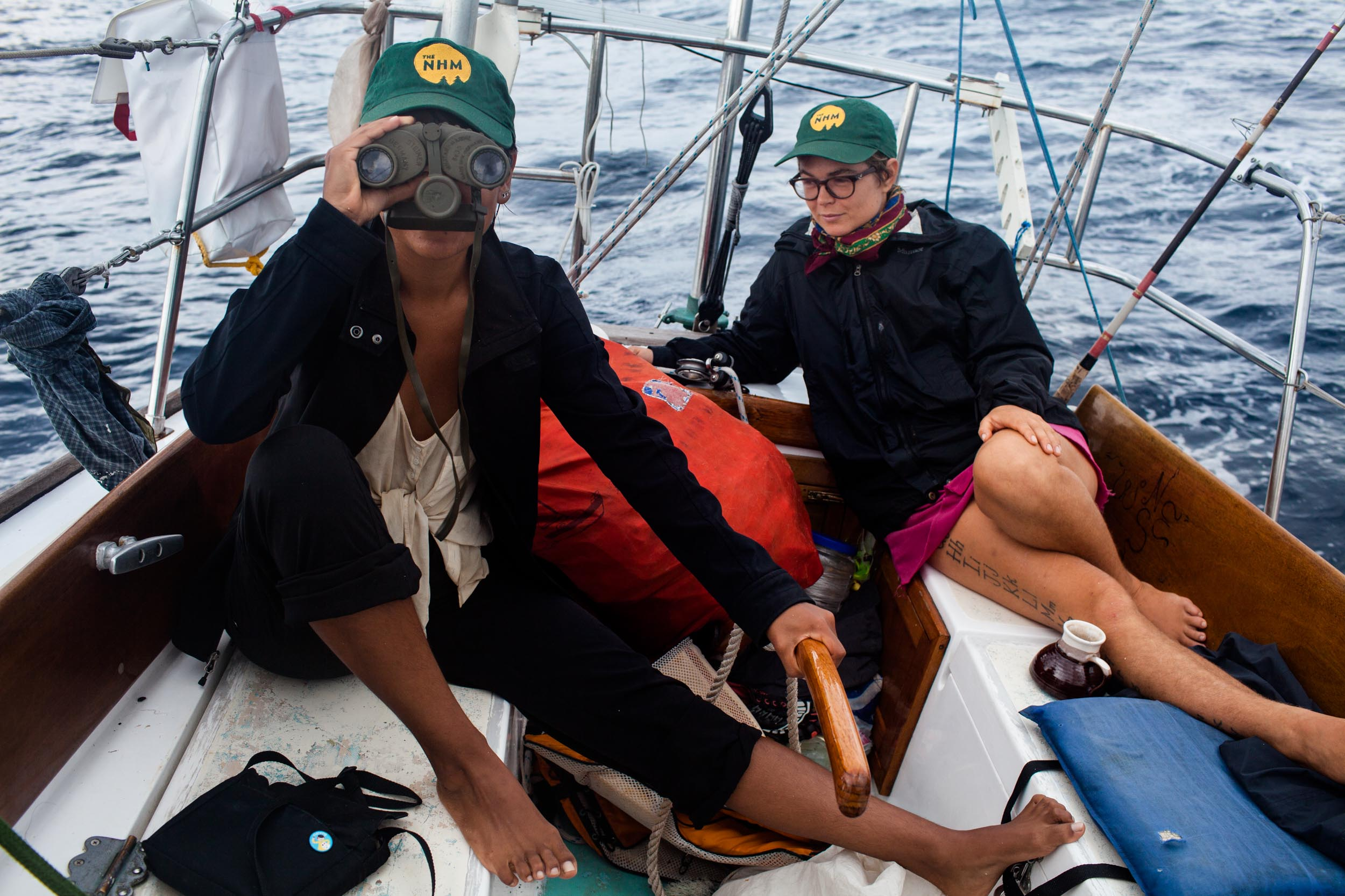 Mon leading a 2014 NHM expedition traveling down the east coast of the US and across the Gulf of Mexico with the TellTales Sailing Collective.
