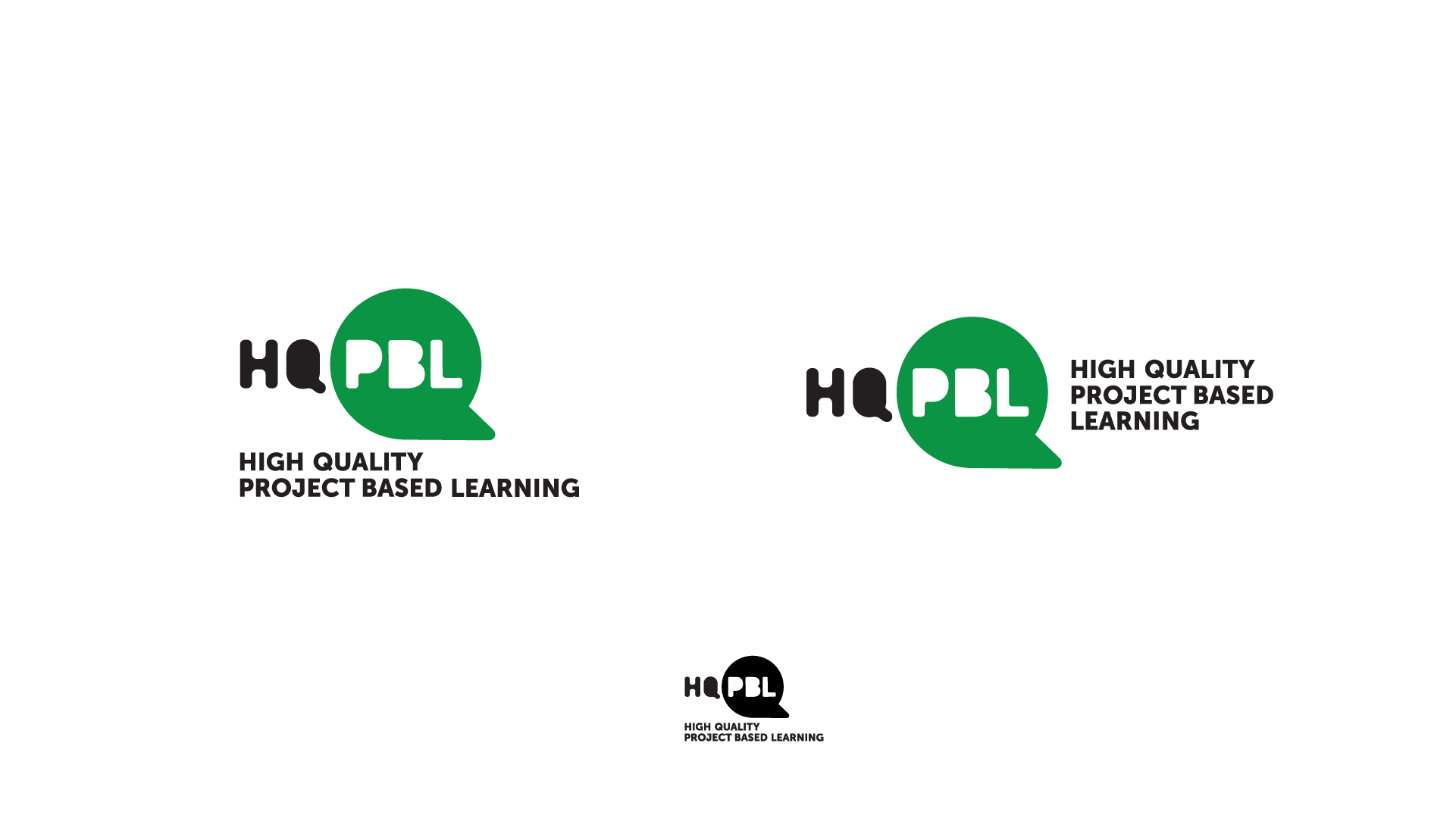 This design concept was inspired by the power skills of collaboration and communication that are among the benefits of project-based learning. The speech bubble is representative of the Q and creates a strong, iconic mark. These options explore the full abbreviation of HQPBL and is paired with the full written text in both horizontal and stacked formats . The logo below shows how it works in one color and when it is reduced to a very small size.