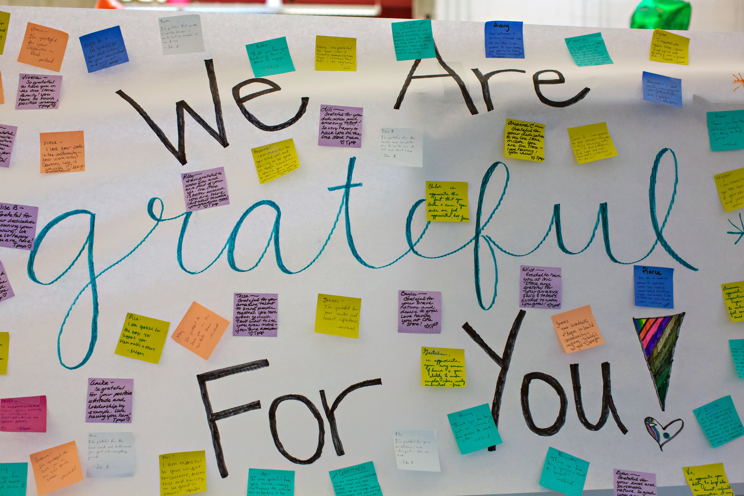 Sticky notes of gratitude.