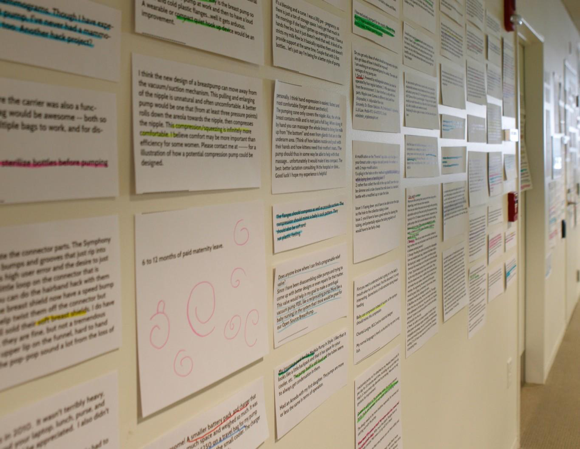"Mother-submitted ideas posted up on the wall at the ""Make the Breast Pump Not Suck!"" Hackathon at the MIT Media Lab in September 2014"