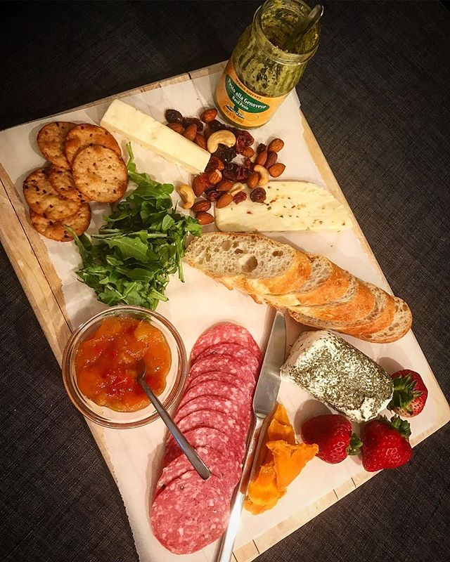 Charcuterie for one. Could've been for four, but no, just one.  #cheeselover  #jaymesplates