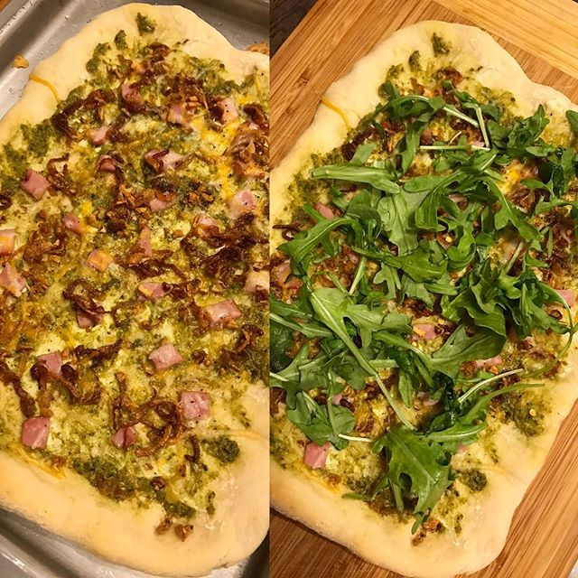 Pizza pizza. Left is right out of the oven. Right is complete with arugula. This was a good one. Homemade pizza dough topped with cream cheese, pesto, caramelized onion , sautéed garlic, Canadian bacon, a sprinkling of shredded cheese and topped with arugula.  #pizzapizza  #jaymesplates