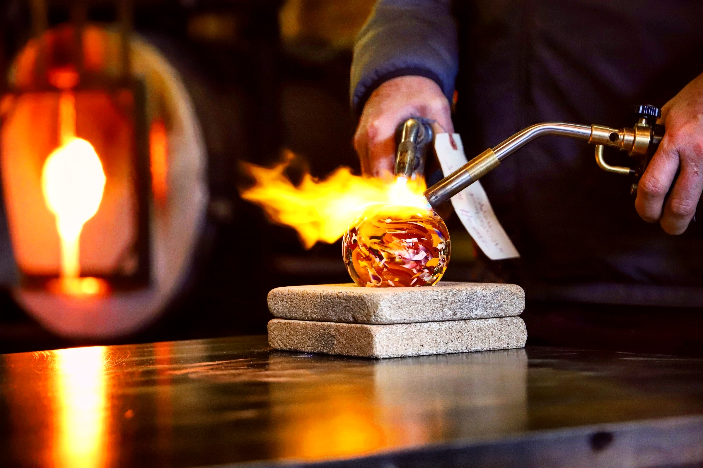 Monthly Paperweight Classes - Once a month, we host a public event for everyone to sign up & come to learn the basics of glassblowing by creating their own paperweight! Click here to learn more!
