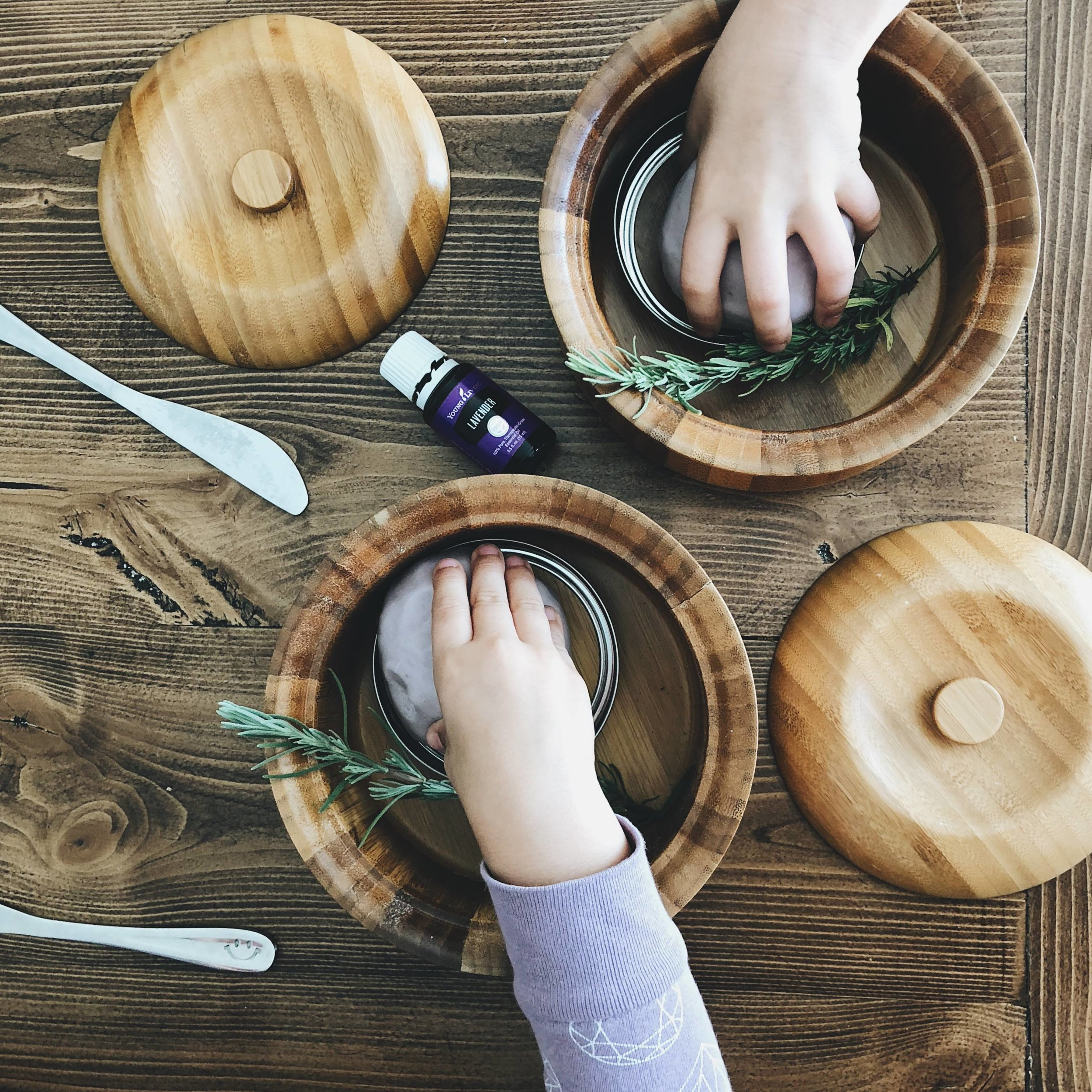 Soft & Soothing Lavender Playdough - Ingredients:3/4 cup white flour1/4 cup corn starch1/4 cup salt2 teaspoons cream of tartar1 tablespoon vegetable oil3/4 cup water5-10 drops lavender essential oiljust a hint of purple food coloringsprigs of lavender or dried lavender buds to use in open ended play with the dough