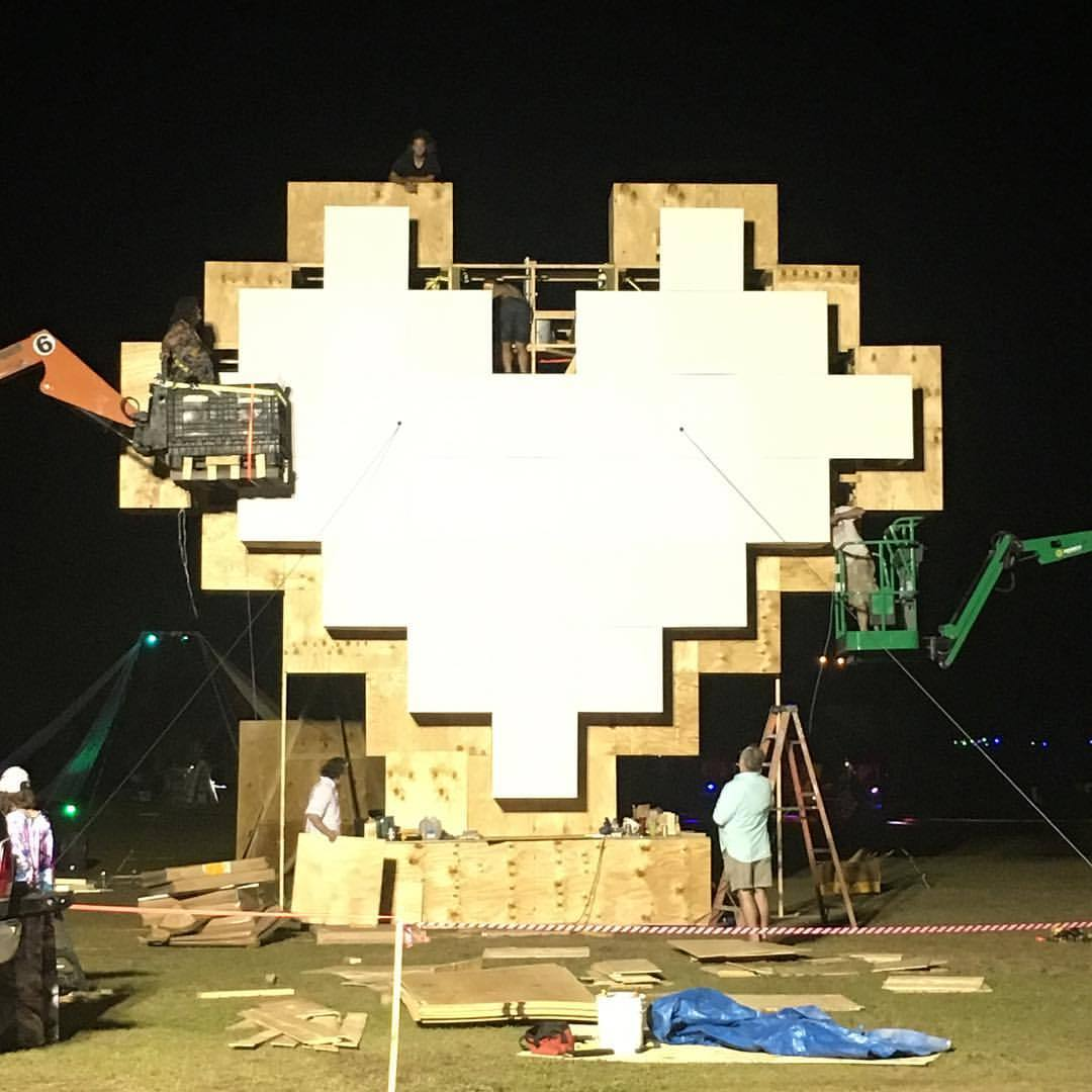 Massive afrobeta heart being built at #loveburn -tix still avail for late birds! 🌈❤️🎟🤸🏻‍♀️plan now no fomo later (at Historic Virginia Key Beach Park)