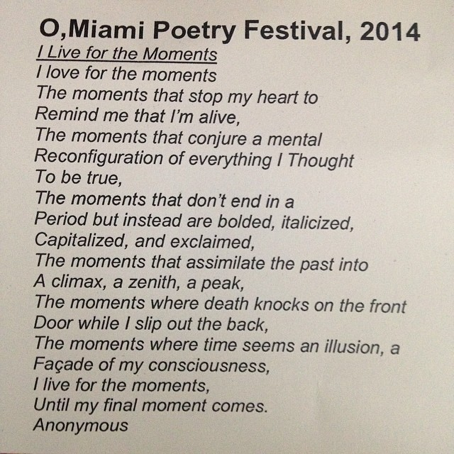 Thx to @omiamifestival for poppin up poetry in secret places this month. In a mag I bought @booksandbooks #omiamifestival