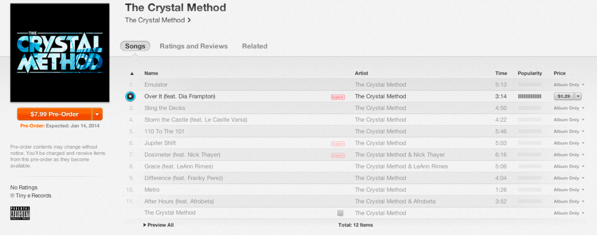 "Our track with Crystal Method is on their new album! Avail for pre-order on iTunes! It's called ""Afterhours"". We wrote it last year after an awesome karaoke session for Tony's bday in LA.  Venues in LA close at 2 am, we weren't used to that so we wanted to keep hanging out.     We hit Scott up and he invited us over to the studio at around 2:30 am.   And the rest is on the track! Much luv, c"