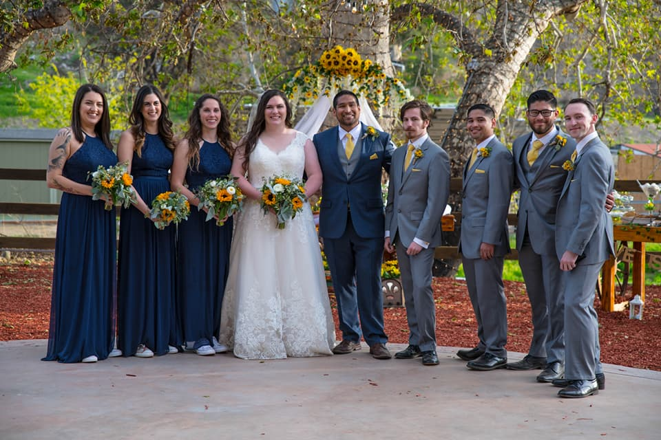 sunflower wedding bridal party