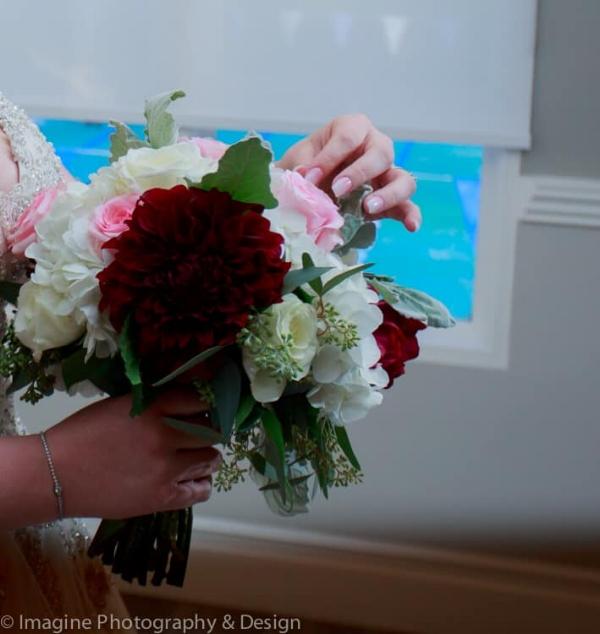 burgundy dahlia wedding bouquet