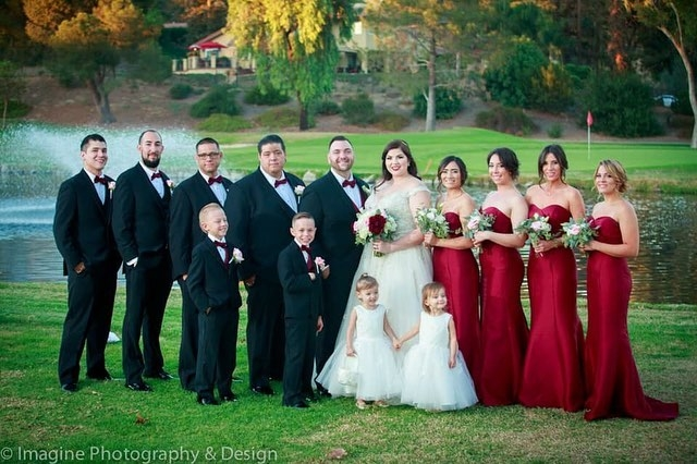 bridal party with blush and white wedding flowers
