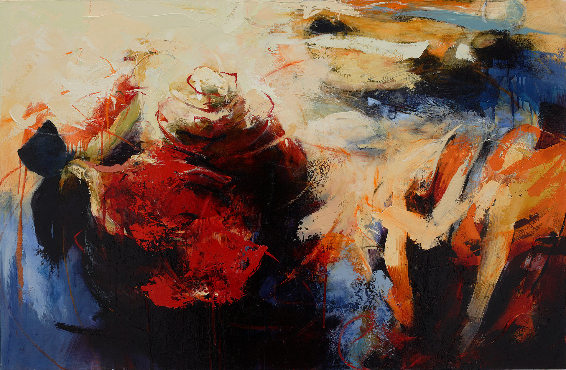 "Juicy, Oil, alkyd, wax on canvas, 34"" x 52"""