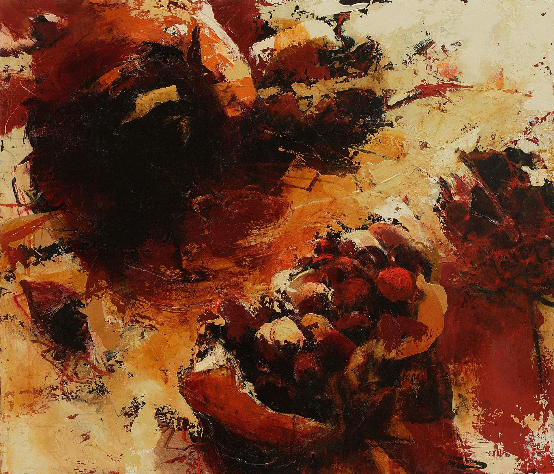 "Pomegranates, Oil, alkyd, wax on canvas, 36"" x 42"""