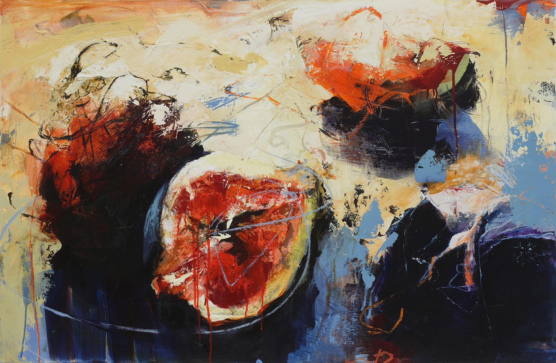 "Split Fig, Oil, alkyd, wax on canvas, 34"" x 52"""