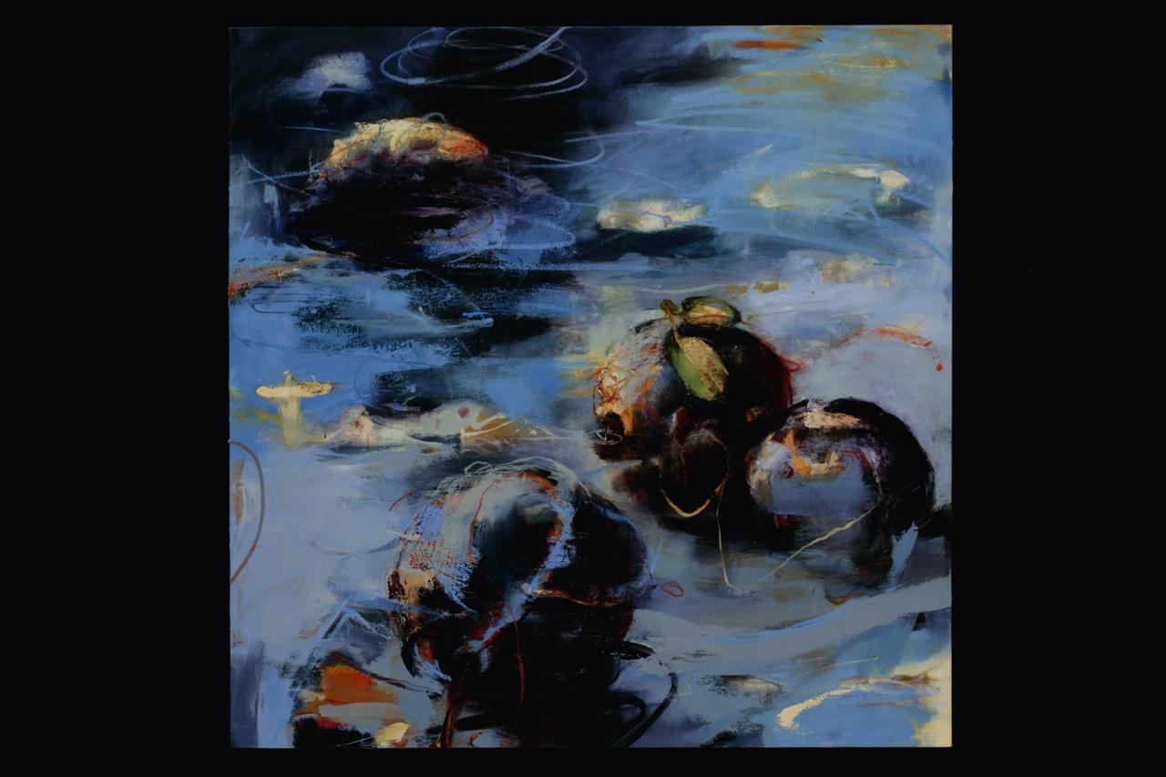 """Ciruelas, Oil, alkyd, wax on canvas, 62'X62"""""""