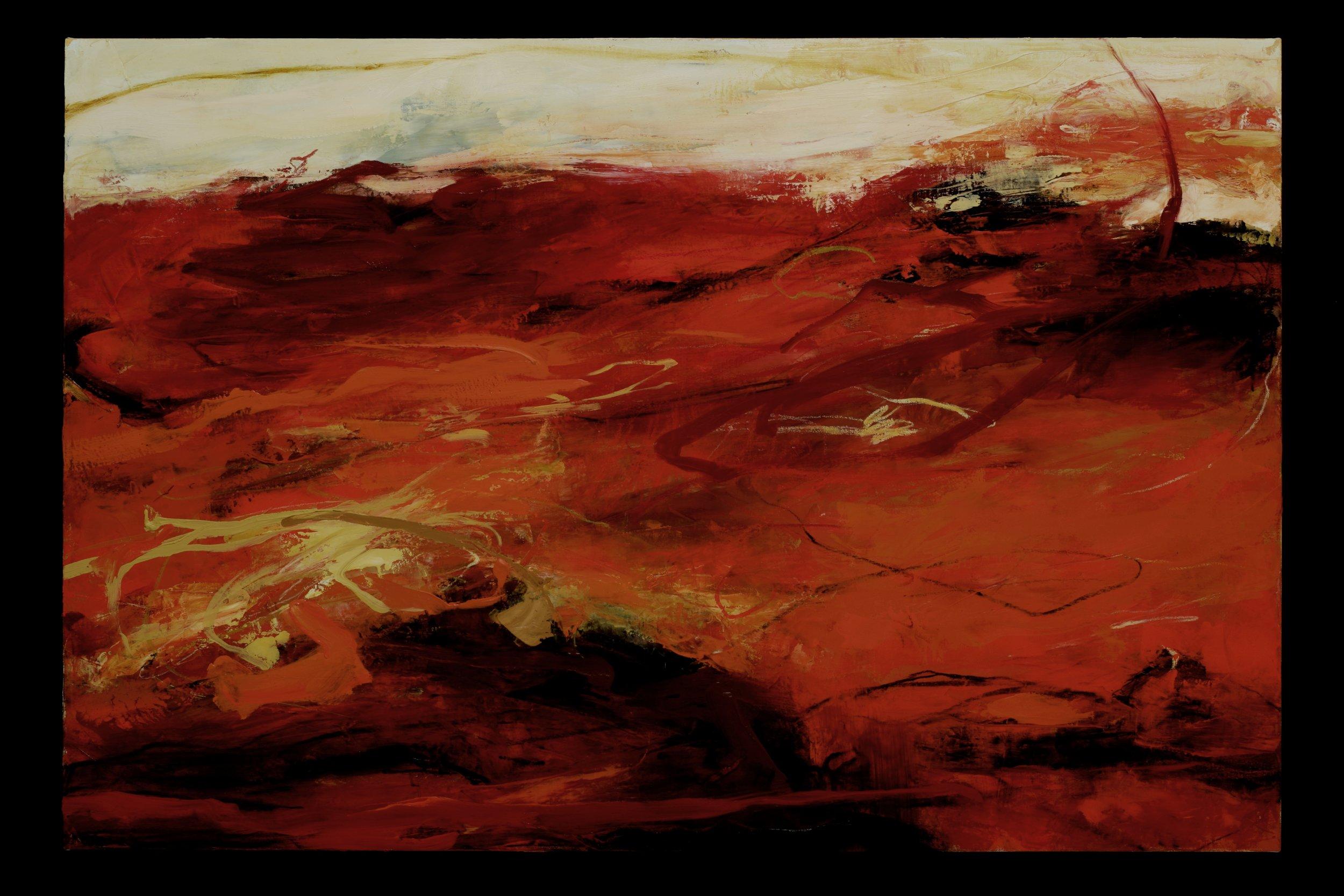 "Waterpainting 1, Oil, alkyd, wax on linen, 36""x54"""