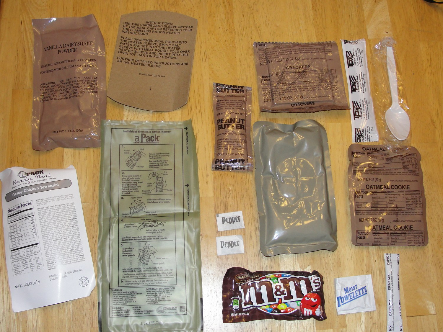 One MRE unpacked. It's a lot of food.