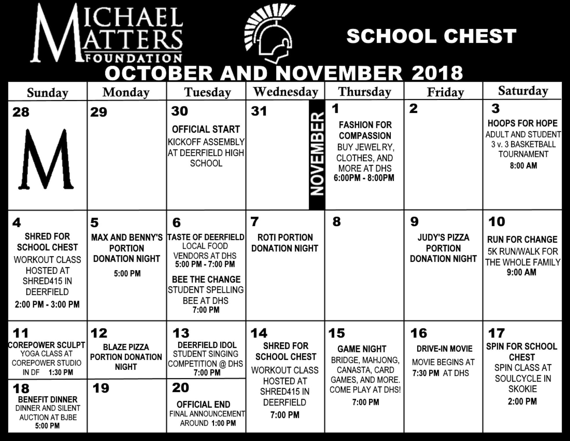 DHS Chest Calendar