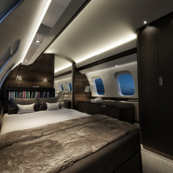 The only business jet with four living spaces and a dedicated crew rest area. - The Global 7500 is the only business jet with four living spaces and a dedicated crew rest area. With the different cabin configurations, you can enjoy the unparalleled quality, space, comfort and interior design flexibility to ensure you have a relaxing journey.