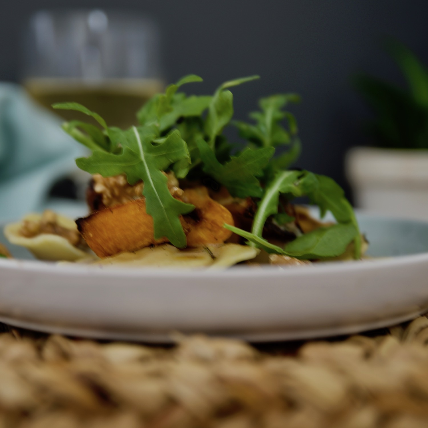 Butternut Ravioli with roast butternut walnuts & rocket.jpg