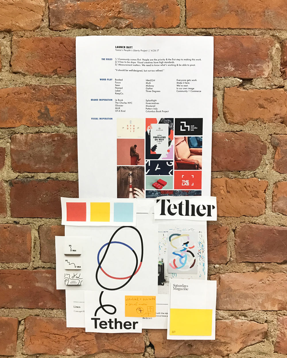 I kept this inspiration collage up at my desk. We were particularly drawn to a combination of color-blocking and organic line shapes.
