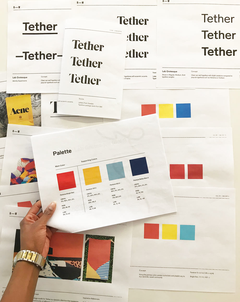 Reviewing font and color options for the Tether logo