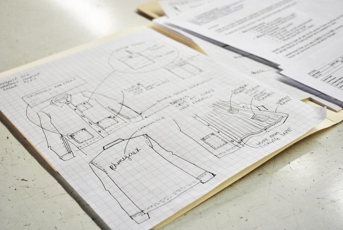 Rosie's sketch of workwear uniforms for Rhinegeist Brewery.