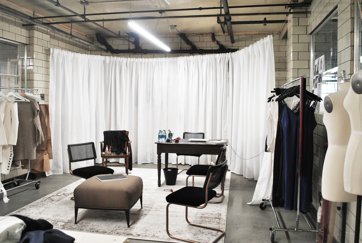 Fashion designers Calle Evans and Tessa Clark share one of Sew Valley's studios.