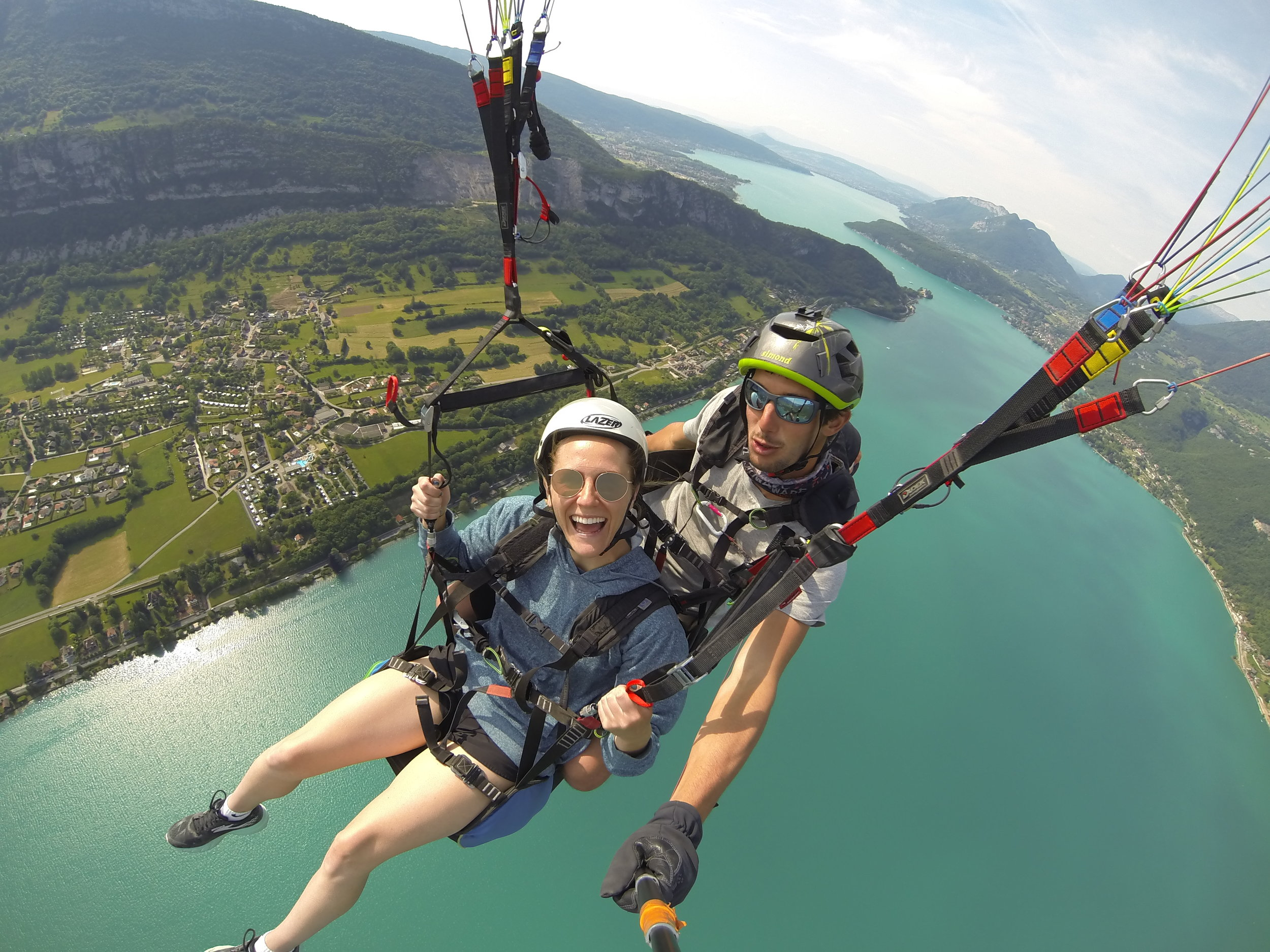 Paragliding over Lac d'Annecy, France.