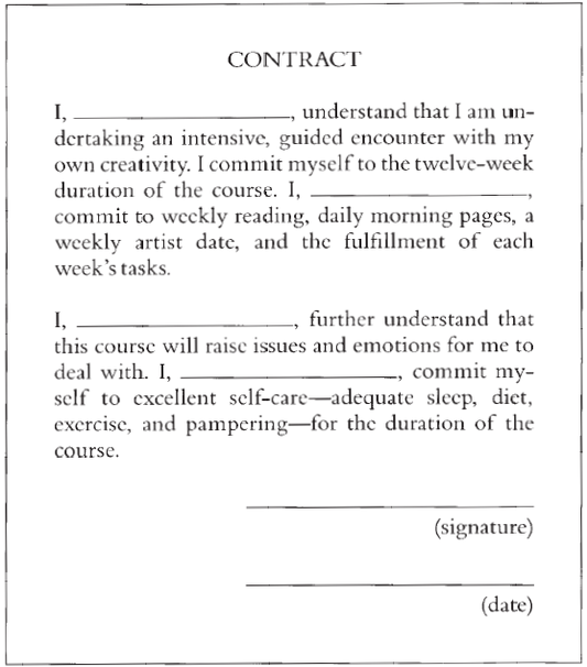 Creativity contract from Julia Cameron's T he Artist's Way