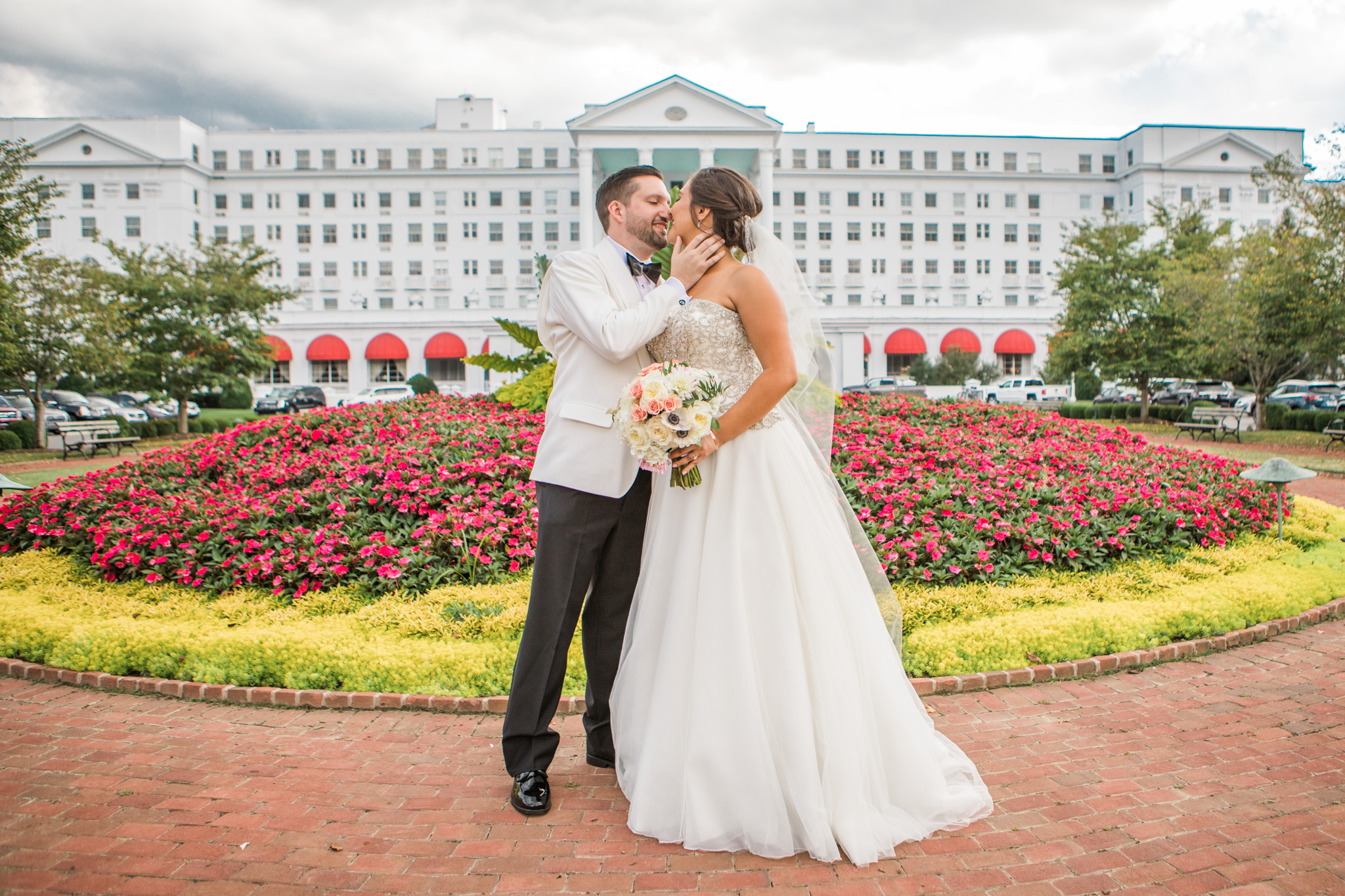 The main entrance of The Greenbrier is one of those places that are just unmistakable. The landscaping is always pristine. It makes for a lovely backdrop.