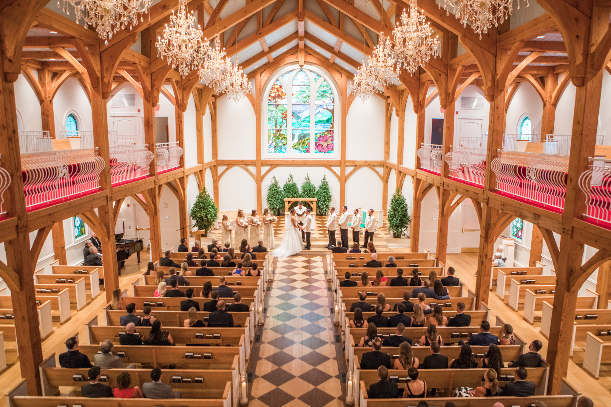 I always make sure to get a wide shot from up in the balcony at The Chapel.