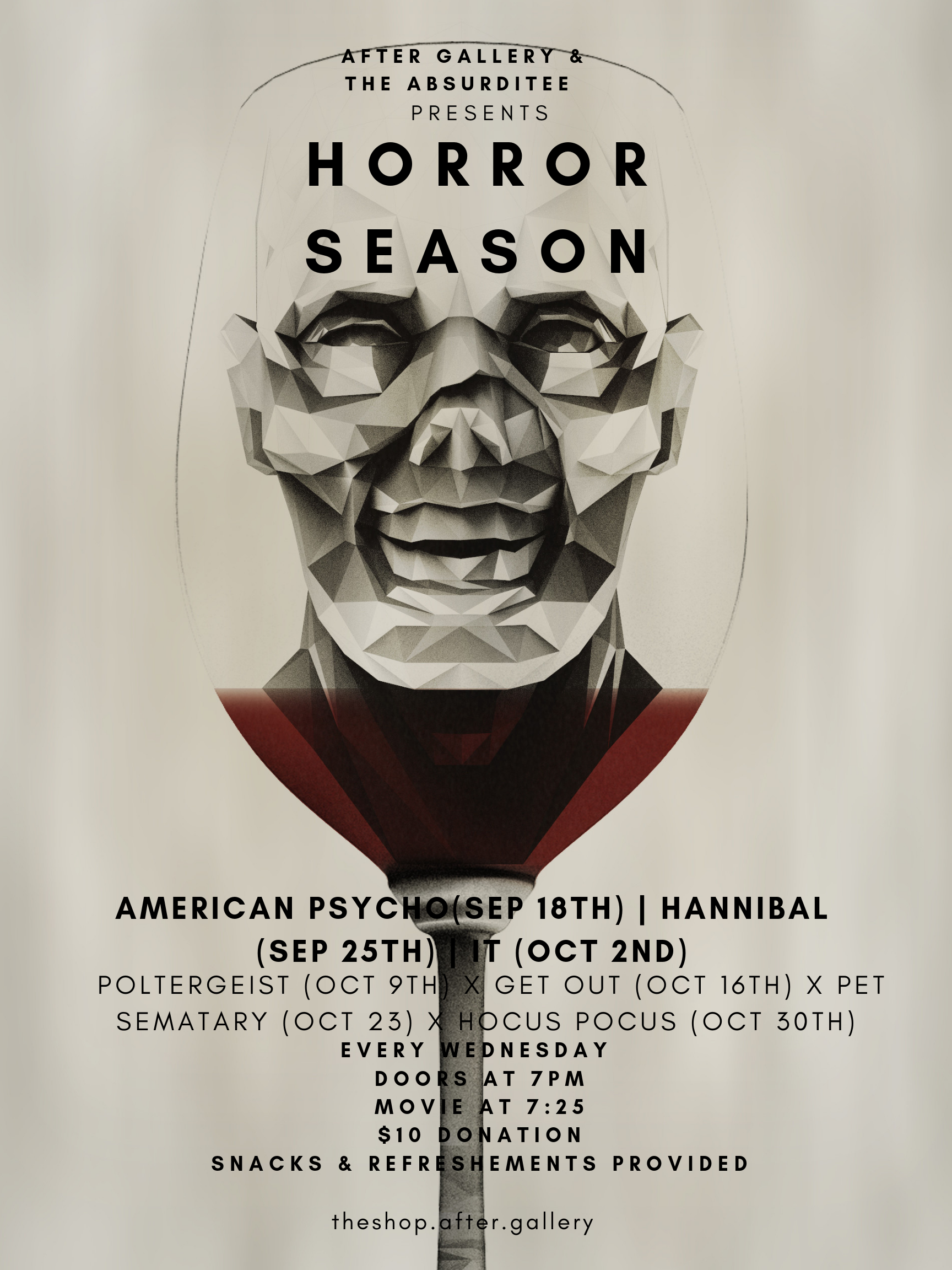 A weekly horror movie that lasts through October.