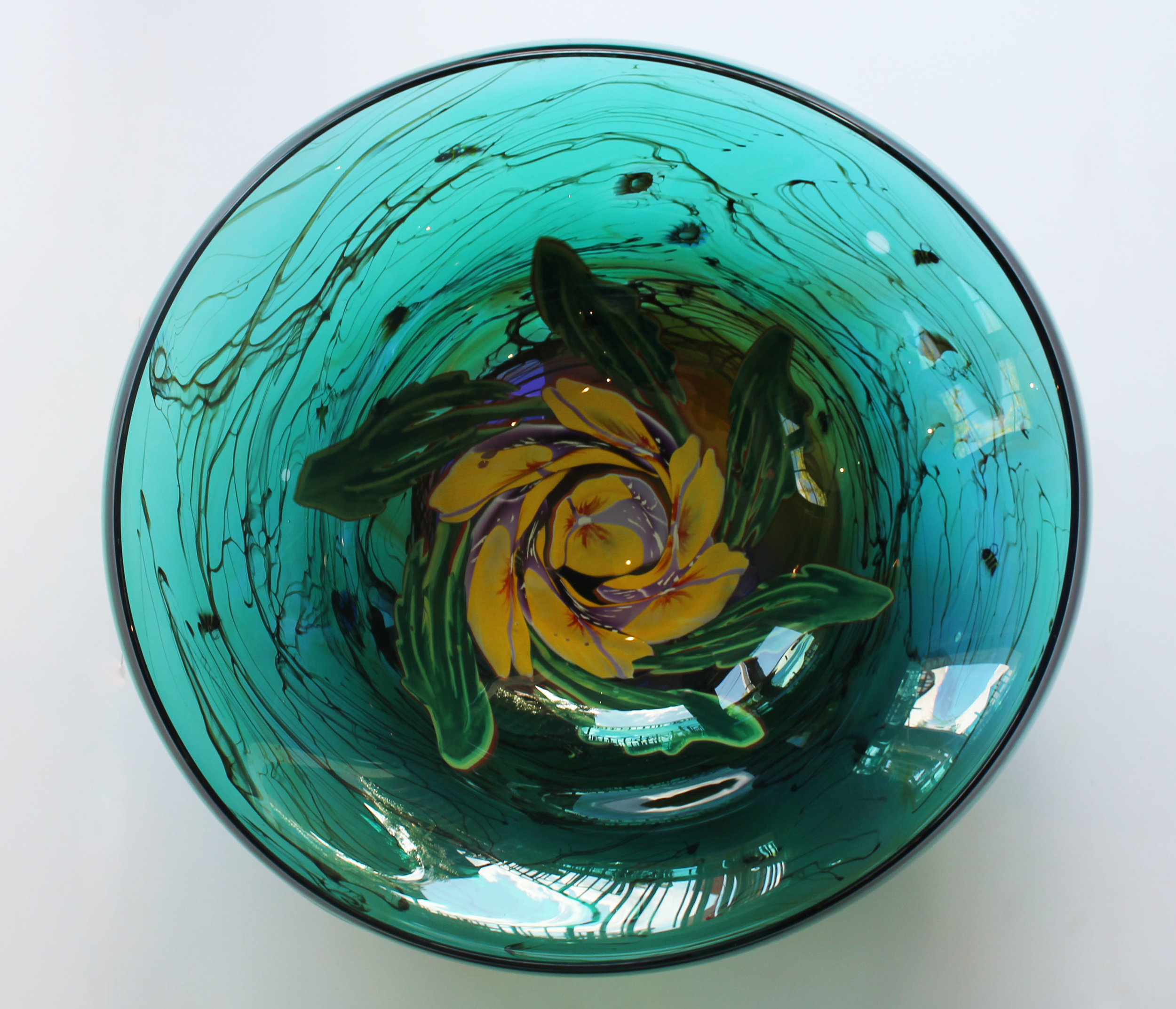 Green Bowl with Pansies
