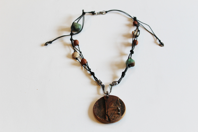 Leather Necklace With Clay Pendant