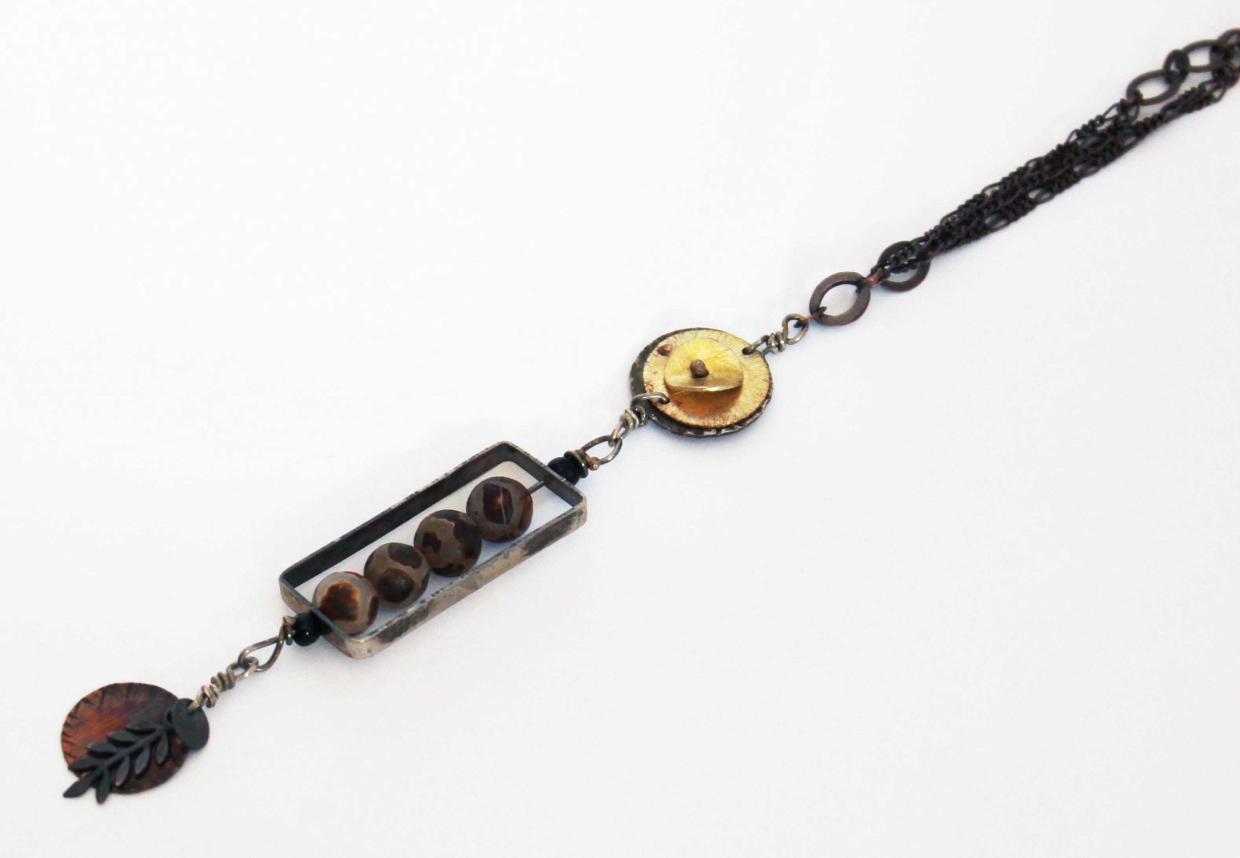 Copper and Etched Beads Necklace