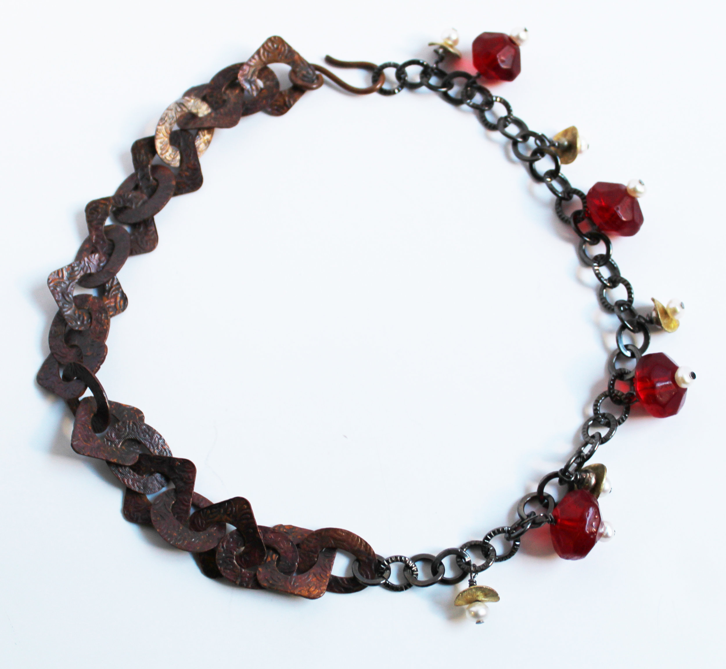 Glass, Pearl, and Copper Necklace