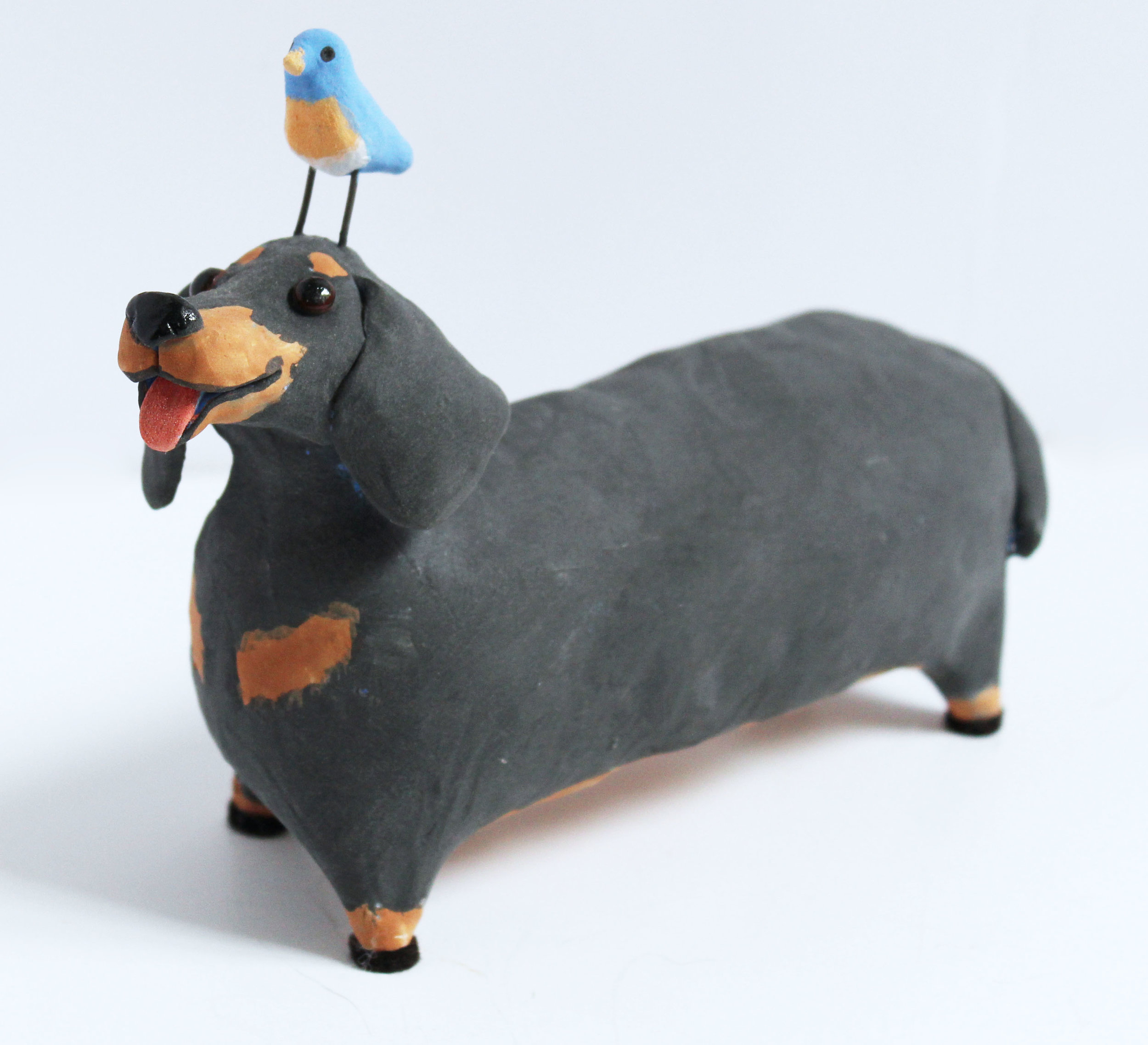 Dachshund with Blue Bird