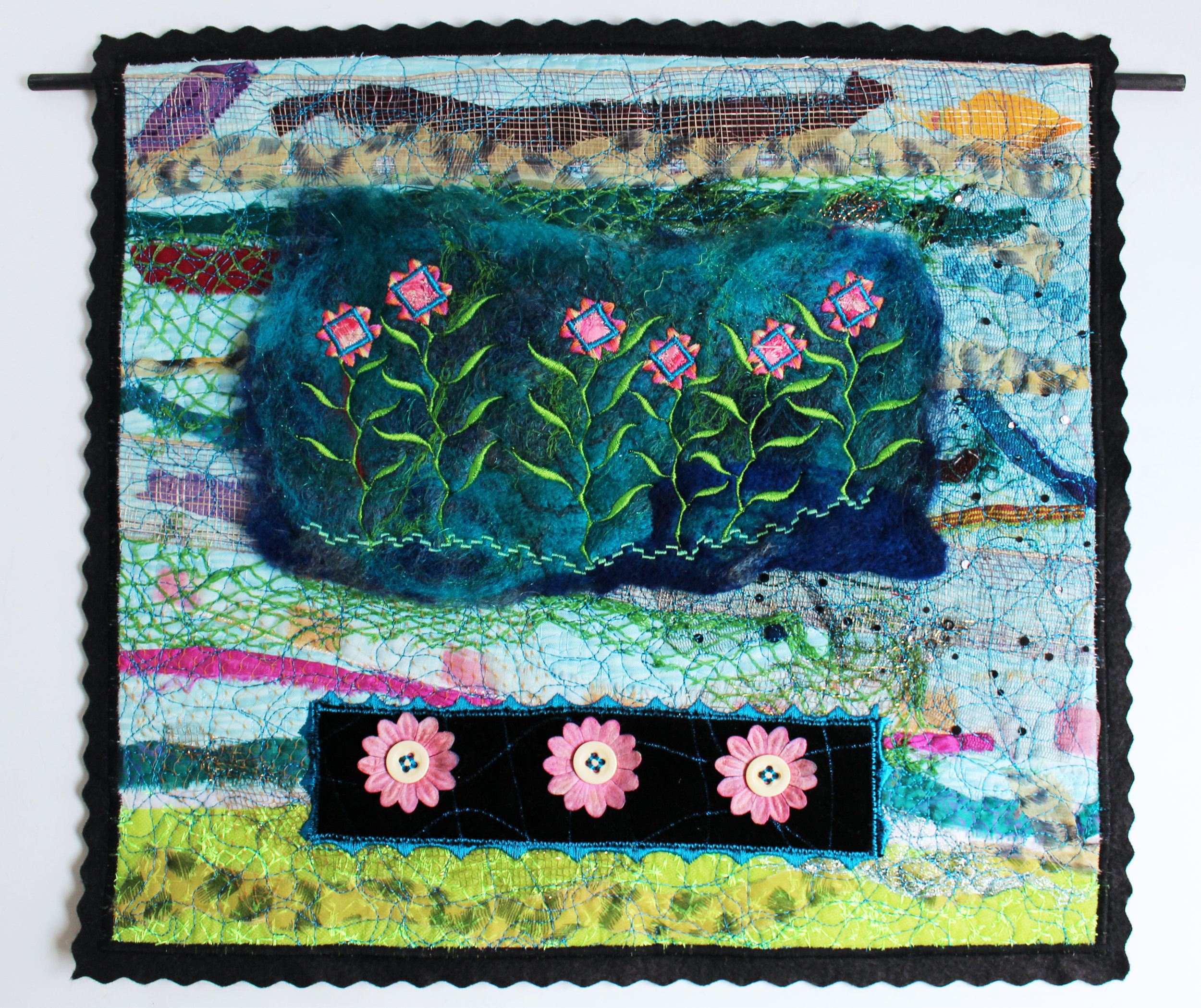 Blue and Pink Flowers Wall Piece