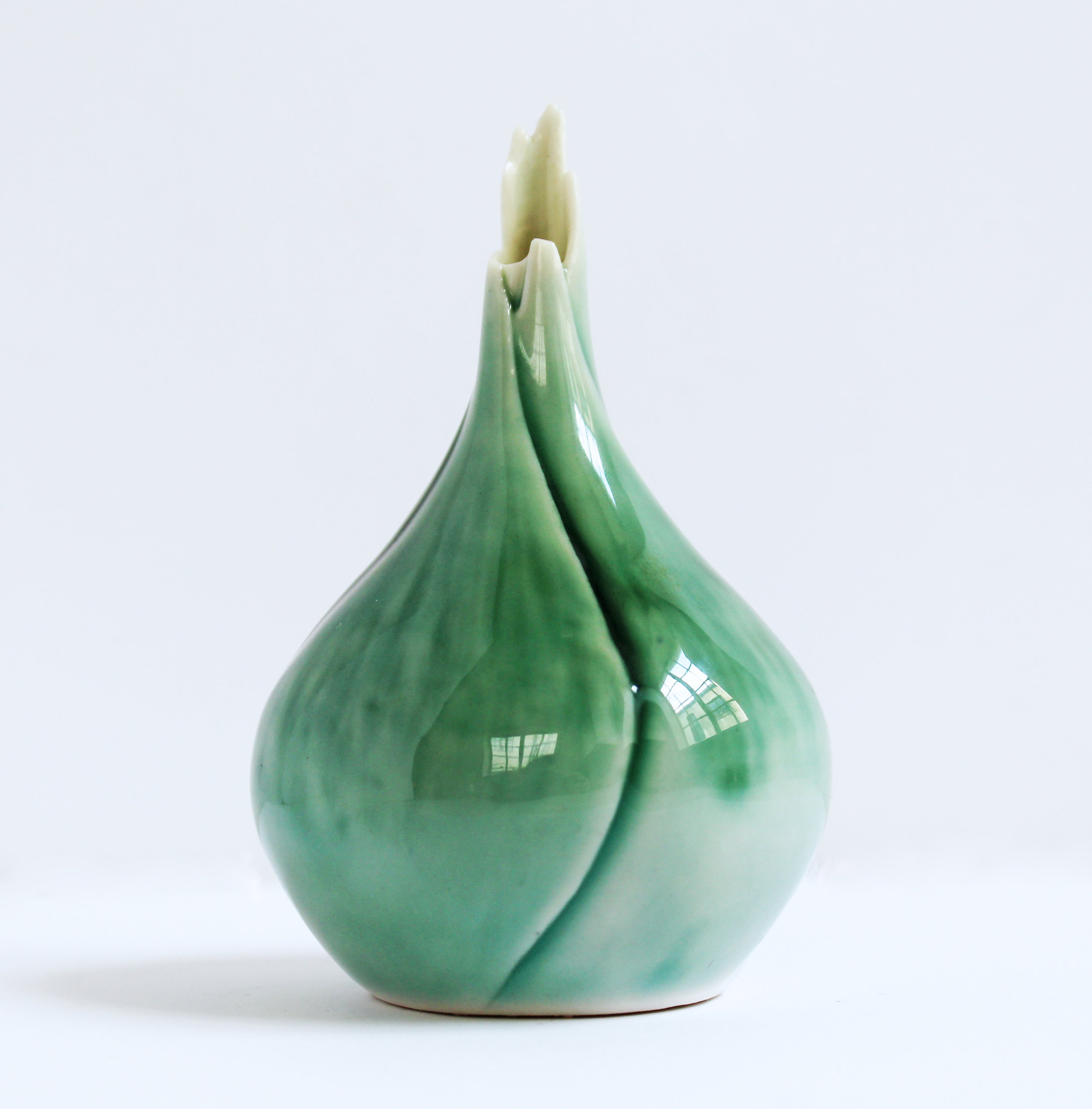 Carved Green Pistil Vessel with Organic Top